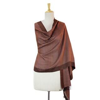 Silk and Cotton Blend Shawl, 'Bhagalpur Dusk' (India)