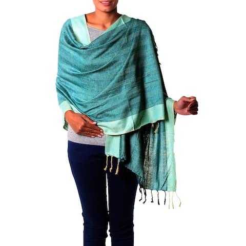Handmade Silk Shawl, 'Bhagalpur Aqua' (India)