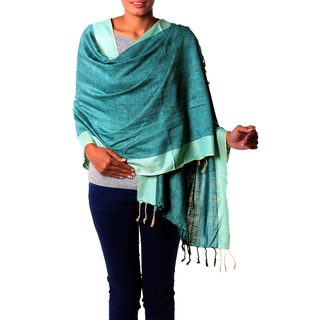 Silk Shawl, 'Bhagalpur Aqua' (India)