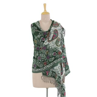 Jamawar Wool Shawl, 'Snowy Forest' (India)