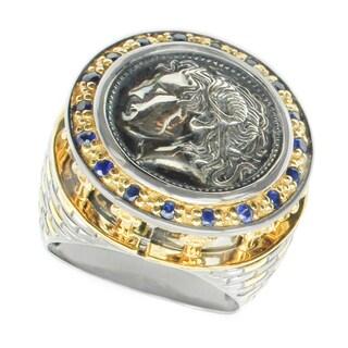 Michael Valitutti Palladium Silver Coin Blue Sapphire Men's Ring