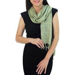 Raw Silk Scarf, 'Essential Green' (Thailand)
