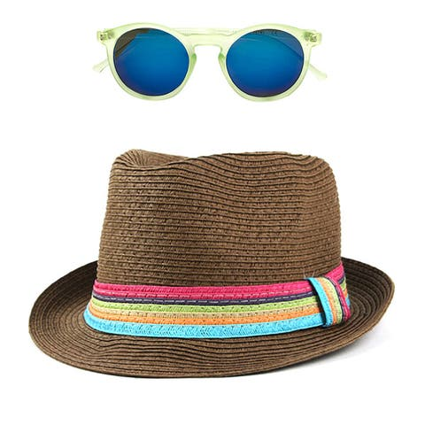 a220cdcf Pop Fashionwear Women's Summer Cool Straw Hipster Fedora Hat with Colorful  Band and Free Sunglasses