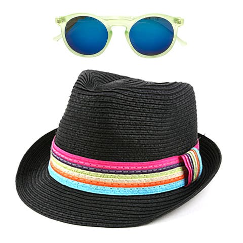 Pop Fashionwear Women's Summer Cool Straw Hipster Fedora Hat with Colorful Band and Free Sunglasses