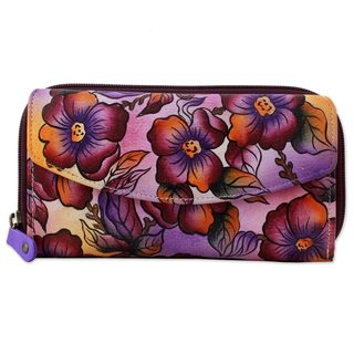 Leather Wallet, 'Lovely Blossoms' (India)