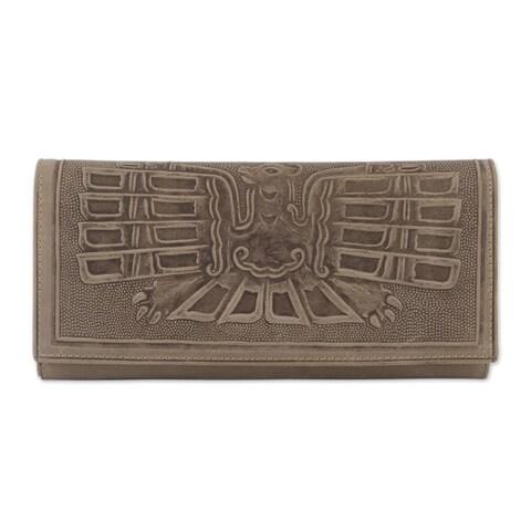 Handmade Leather Wallet, 'Avian Muse' (Peru)