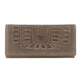 Leather Wallet, 'Avian Muse' (Peru)