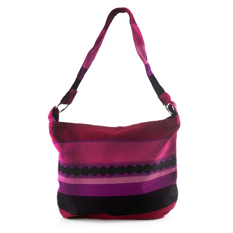 Handmade Cotton Shoulder Bag, 'Luscious Purple' (Guatemala)
