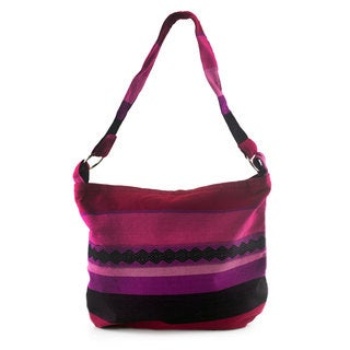 Cotton Shoulder Bag, 'Luscious Purple' (Guatemala)