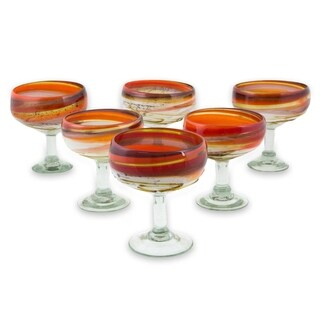 Blown Glass Margarita Glasses, 'Caramel Fantasy' (Set of 6) (Mexico)