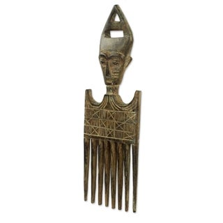 Wood Wall Decor, 'Fante Comb Iii' (Ghana) - Brown - N/A