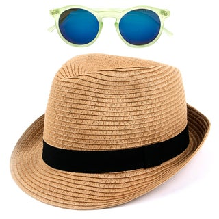 Pop Fashionwear Unisex Straw Fedora Vintage Sun Visor Hat with Free Sunglasses (Option: Brown)