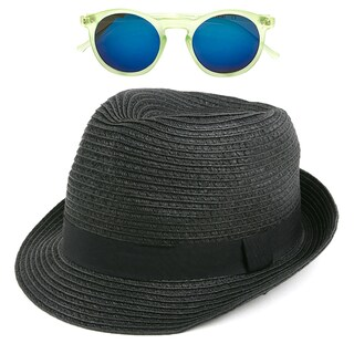Pop Fashionwear Unisex Straw Fedora Vintage Sun Visor Hat with Free Sunglasses (Option: Black)