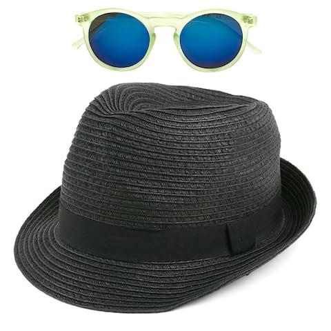 Pop Fashionwear Unisex Straw Fedora Vintage Sun Visor Hat with Free Sunglasses