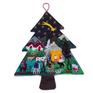 Applique Wall Hanging, 'Andean Christmas Pine' (Peru)