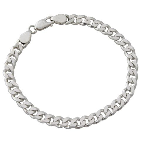 Men's Sterling Silver Link Bracelet, 'Hip Hop Connection'