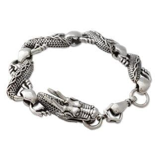 Men's Sterling Silver Link Bracelet, 'Mystic Dragon' (India)