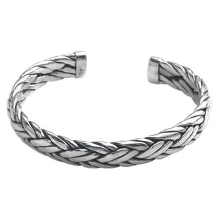 Men's Sterling Silver Cuff Bracelet, 'Flowing Water' (Indonesia)