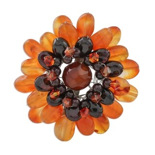 Carnelian Brooch Pin, 'Orange Chrysanthemum' (Thailand)