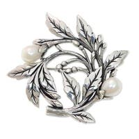 Handmade Cultured Freshwater Pearl Brooch Pin, 'Budding Cotton' (Indonesia)