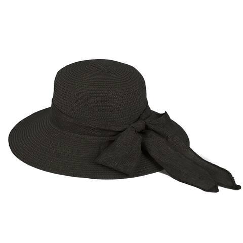 Pop Fashionwear Women's Straw Wide Brim Fancy Ribbon Floppy Hat