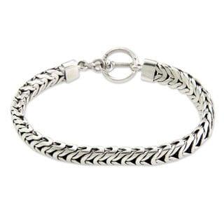Men's Sterling Silver Braided Bracelet, 'Flow' (Indonesia)