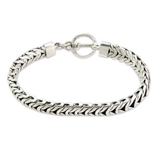 Men's Sterling Silver Braided Bracelet, 'Flow' (Indonesia)