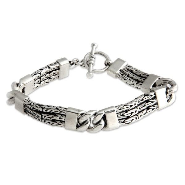 Handmade Men X27 S Sterling Silver Braided Bracelet Two