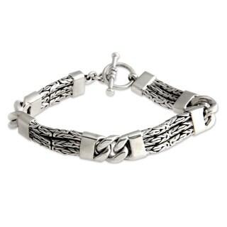 Men's Sterling Silver Braided Bracelet, 'Two Halves' (Indonesia)