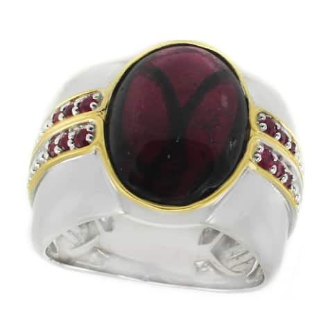 Michael Valitutti Palladium Silver Rhodolite Garnet & Ruby Men's Ring