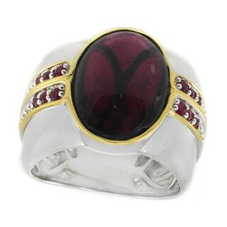 Michael Valitutti Palladium Silver Rhodolite Garnet & Ruby Men's Ring|https://ak1.ostkcdn.com/images/products/16198574/P22569912.jpg?impolicy=medium