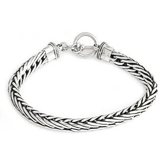 Men's Sterling Silver Bracelet, 'Silver Serpent' (Indonesia)