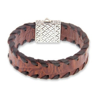 Handmade Men's Sterling Silver and Leather Wristband Bracelet, 'Weaver' (Indonesia)