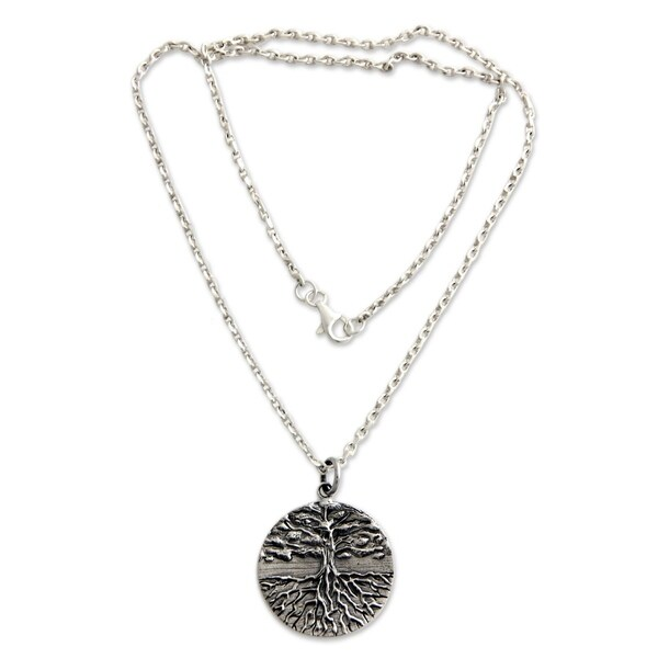 Shop Handmade Men's Sterling Silver Necklace Tree of Life (Indonesia