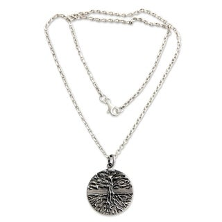 Men's Sterling Silver Necklace, 'Tree of Life' (Indonesia)