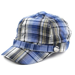 Pop Fashionwear Unisex 3 Button Plaid Cadet Style Hat