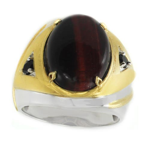 Michael Valitutti Palladium Silver Tiger Eye & Black Spinel Men's Ring