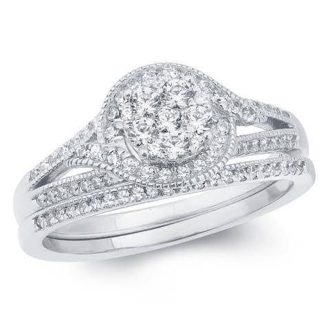Cali Trove 5/8 Carat Round Diamonds Composite Bridal Ring in 14k White Golld.