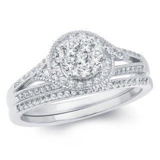 5/8 Carat Round Diamonds Composite Bridal Ring In 14k White Golld.