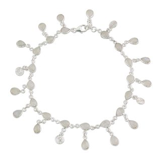 Rainbow Moonstone Charm Anklet, 'Starry Allure' (India)
