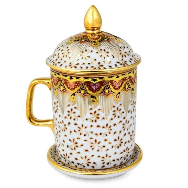 Handmade Benjarong Porcelain Mug, 'Thai Celebration' (Thailand). Opens flyout.