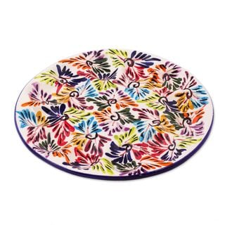 Ceramic Egg Platter, 'Dance of Colors' (Mexico)