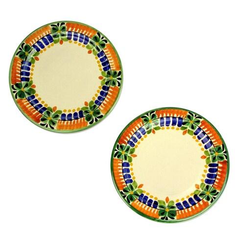 Handmade Majolica Ceramic Dessert Plates, 'Acapulco' (Pair) (Mexico)