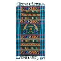 Handmade Cotton Table Runner, 'Turquoise Quetzal' (Guatemala)