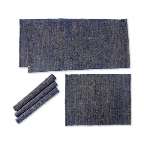 Handmade Natural Fibers and Cotton Table Runner and Placemats, 'Nature of Blue' (Set of 4) (Indonesia)