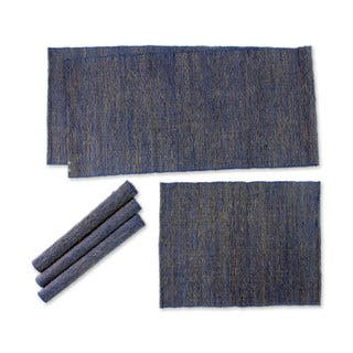 Natural Fibers and Cotton Table Runner and Placemats, 'Nature of Blue' (Set of 4) (Indonesia)|https://ak1.ostkcdn.com/images/products/16198604/P22570009.jpg?impolicy=medium
