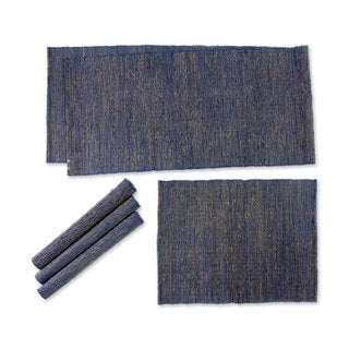 Natural Fibers and Cotton Table Runner and Placemats, 'Nature of Blue' (Set of 4) (Indonesia)