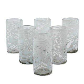 Handmade Blown Glass Highball Glasses Whirling White Set of 6 (Mexico)