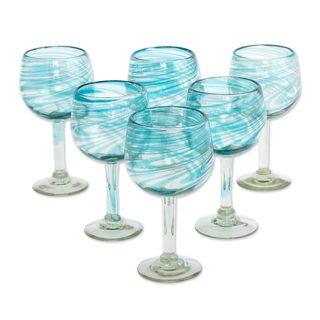 Blown Wine Glasses, 'Elegant Aqua Swirl' (Set of 6) (Mexico)