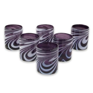 Blown Glass Rock Glasses, 'Whirling Plum' (Set of 6) (Mexico)